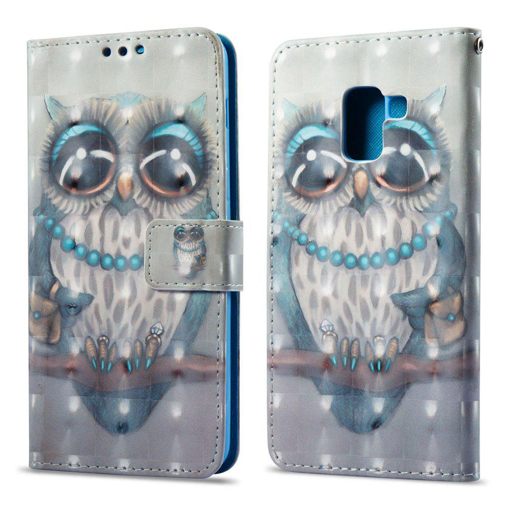 Outfit 3D Painting Filp Case for Samsung Galaxy A8 2018 Gray Owl Pattern PU Leather Wallet Stand Cover