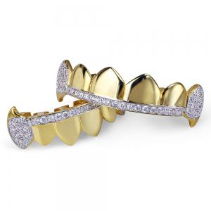 Hip Hop 18K Gold Plated Micro Pave Cubic Zircon Vampire Fangs Teeth Grillz -