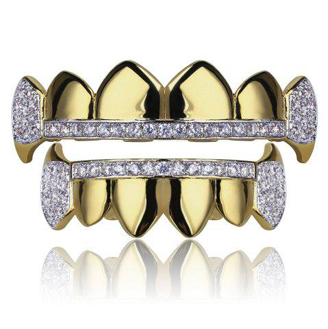 Hot Hip Hop 18K Gold Plated Micro Pave Cubic Zircon Vampire Fangs Teeth Grillz