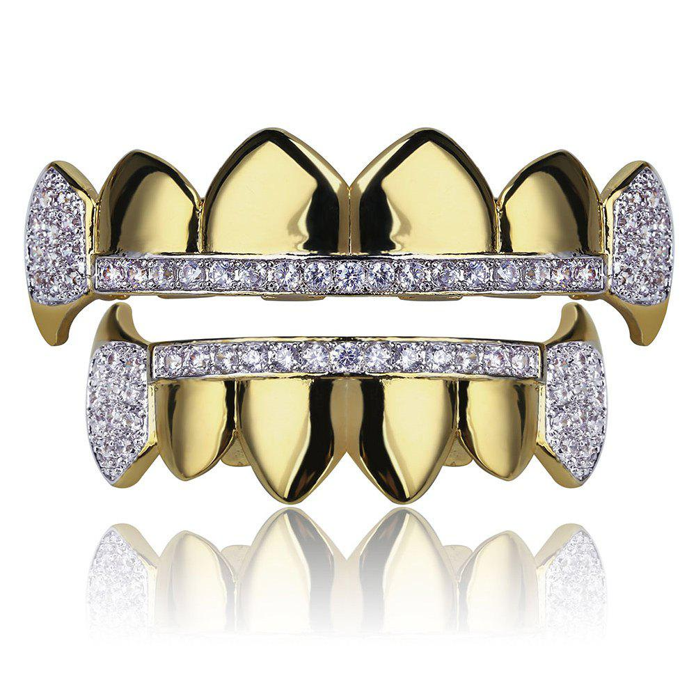 Hip Hop 18K Gold Plated Micro Pave Cubic Zircon Vampire Fangs Зубы Grillz