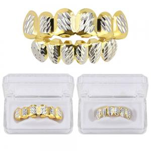 Hip Hop 18K Gold Plated Phi Flowers Teeth Grillz -
