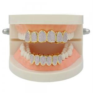 Hip Hop 18K Gold Plated Micro Pave Cubic Zircon Pink D Teeth Grillz -
