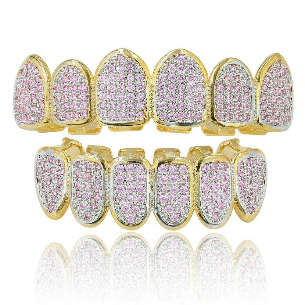 Hip Hop 18K Gold Plated Micro Pave Cubic Zircon Pink D Зубы Grillz