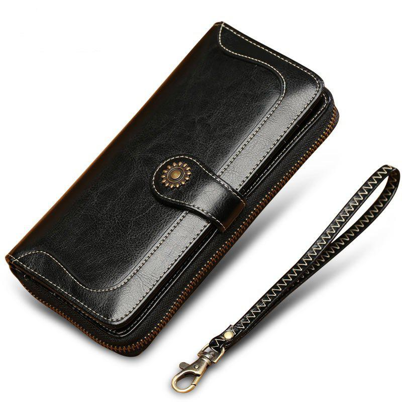 Store NaLandu Vintage Women Long Large Capacity Luxury Wax Leather Clutch Wallet Multi-function Wristlet Handbag