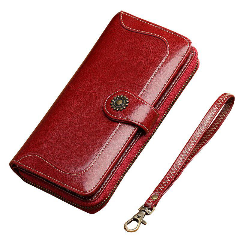 Trendy NaLandu Vintage Women Long Large Capacity Luxury Wax Leather Clutch Wallet Multi-function Wristlet Handbag