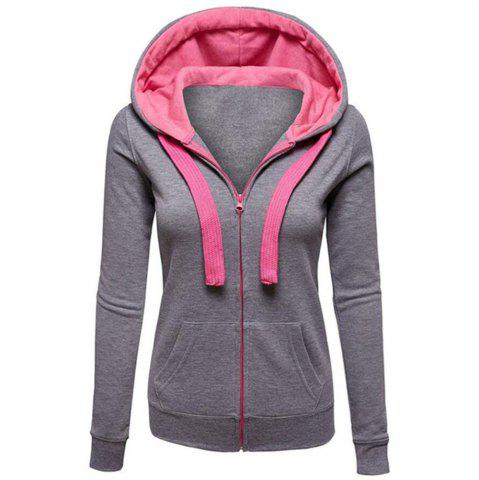 Online Autumn and Winter Wear Female Solid Color Splicing Zip Long Sleeve Hooded Pocket Cardigan