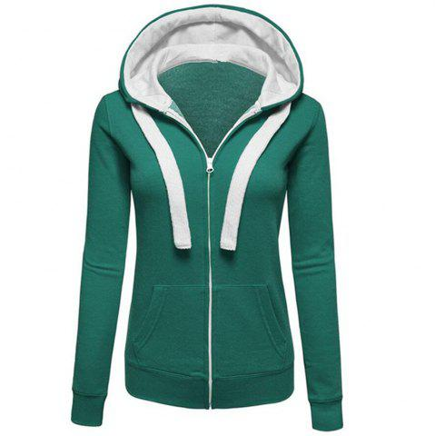 Unique Autumn and Winter Wear Female Solid Color Splicing Zip Long Sleeve Hooded Pocket Cardigan