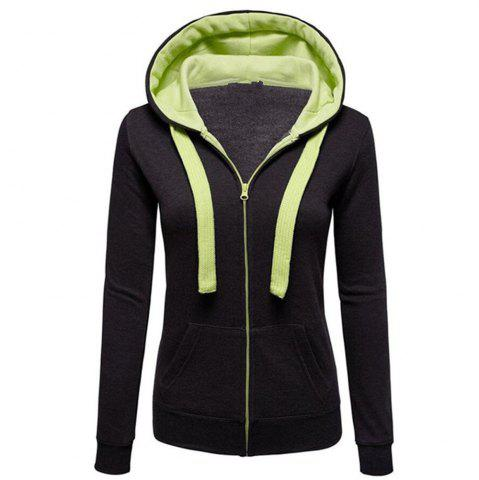 New Autumn and Winter Wear Female Solid Color Splicing Zip Long Sleeve Hooded Pocket Cardigan