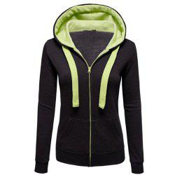 Autumn and Winter Wear Female Solid Color Splicing Zip Long Sleeve Hooded Pocket Cardigan -