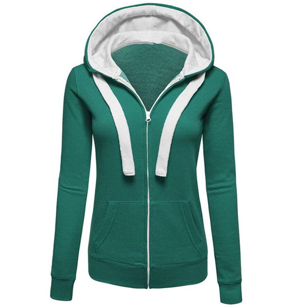 Latest Autumn and Winter Wear Female Solid Color Splicing Zip Long Sleeve Hooded Pocket Cardigan