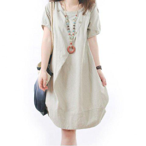 Outfit Solid Pockets Short Sleeve Knee-Length Shift Dress