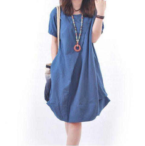 Unique Solid Pockets Short Sleeve Knee-Length Shift Dress