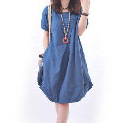 Solid Pockets Short Sleeve Knee-Length Shift Dress -