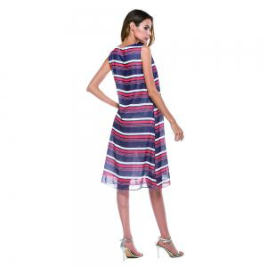 Deep V-neck Horizontal Stripe Print Long Sleeveless Dress -