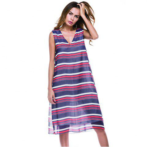 New Deep V-neck Horizontal Stripe Print Long Sleeveless Dress