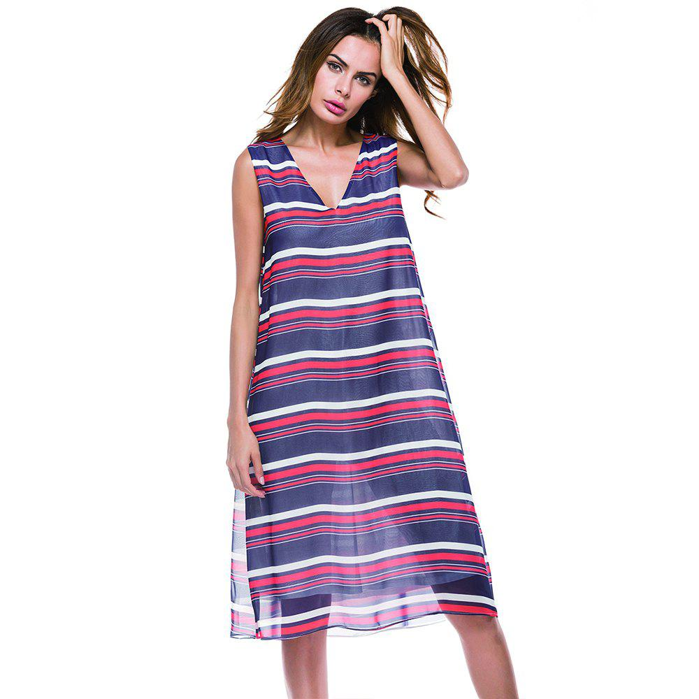 Shops Deep V-neck Horizontal Stripe Print Long Sleeveless Dress
