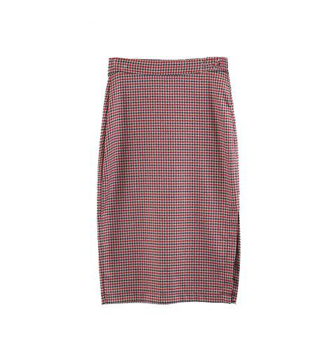 Shops Side Fork Plaid Package Hip Midi Skirt