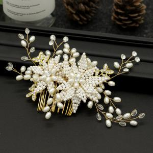 Women Wedding Bride Handmade Pearl Crystal Hair Combs Hair Jewelry -
