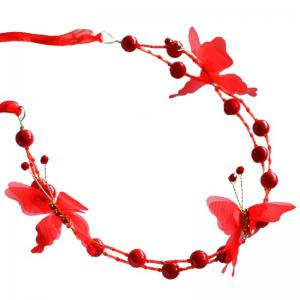 White Red Pearl Crystal Butterfly Shape Headband for Women Wedding Hair Jewelry -