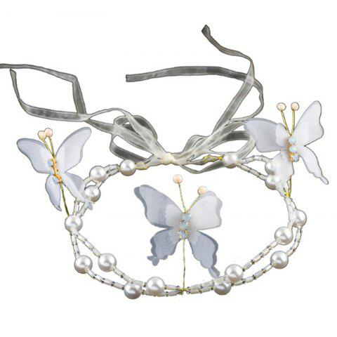 Outfit White Red Pearl Crystal Butterfly Shape Headband for Women Wedding Hair Jewelry