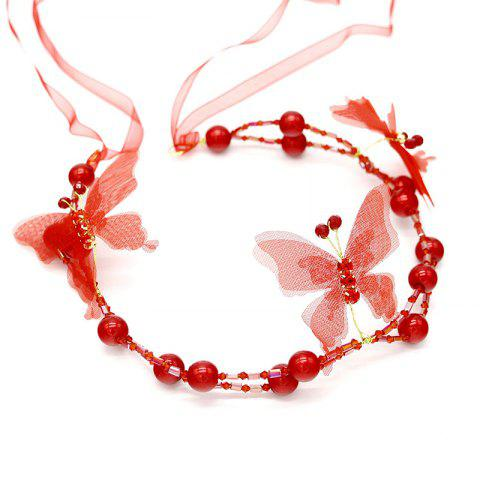 New White Red Pearl Crystal Butterfly Shape Headband for Women Wedding Hair Jewelry