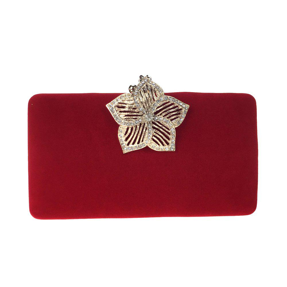 Best Women Bags Velvet Evening Bag Buttons Crystal Detailing for Wedding Event/Party Formal