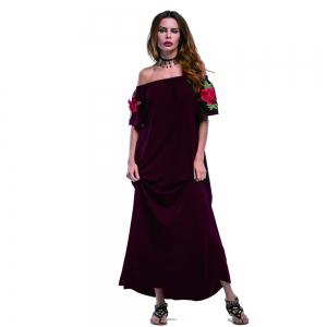 Summer New Pure Color Embroidery Casual Fashion Dress -