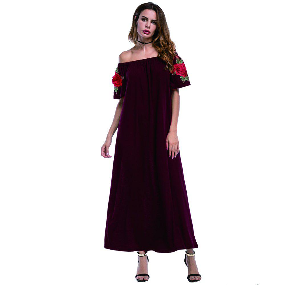 Shops Summer New Color Embroidery Casual Fashion Dress