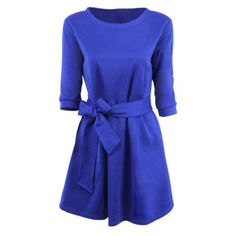 Outfit Round Collar Large Swing Colored Dress