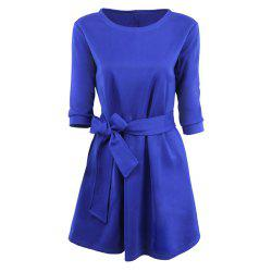 Round Collar Large Swing Colored Dress -