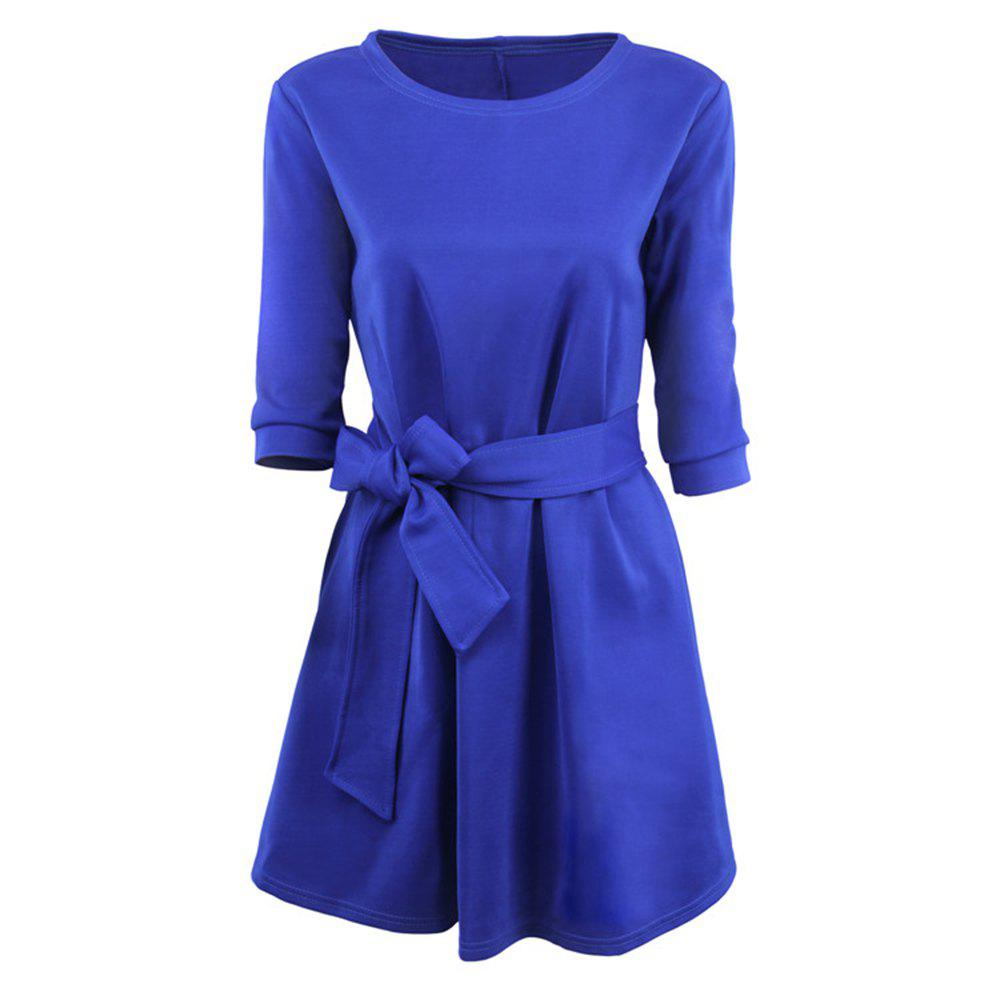 Outfits Round Collar Large Swing Colored Dress