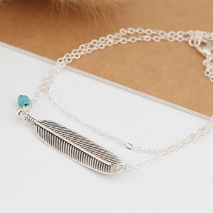 Vintage Multi-Layered Foot Anklet Blue Turquoise Feather -