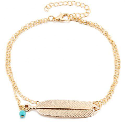 Chic Vintage Multi-Layered Foot Anklet Blue Turquoise Feather