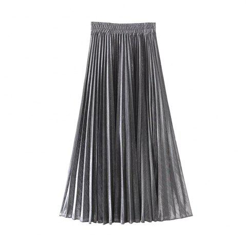 Fancy Women's Fashion Flash Metallic Pleated Skirts