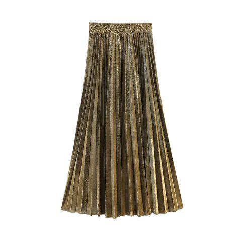 Hot Women's Fashion Flash Metallic Pleated Skirts