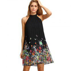 Hot-Selling Women'S Sleeveless Round Collar Printed Chiffon Dresses -
