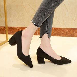 Head Suede Shallow Mouth Temperament High Heel Single Shoes -