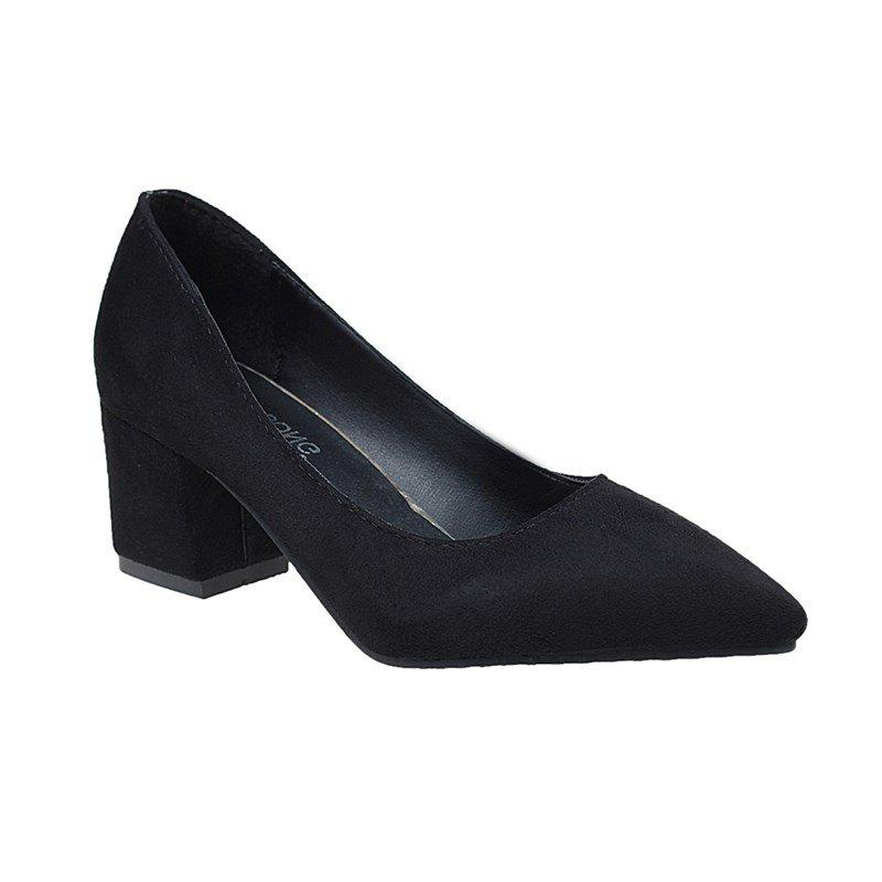 Trendy Head Suede Shallow Mouth Temperament High Heel Single Shoes