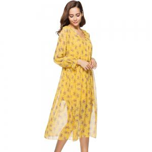 New Two-piece Long-sleeved Small Floral Long Dresses -