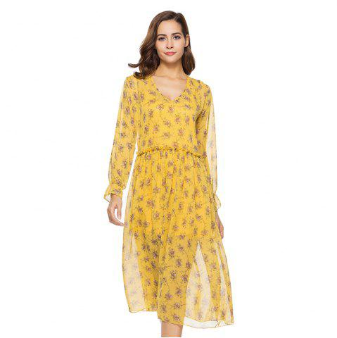 Trendy New Two-piece Long-sleeved Small Floral Long Dresses
