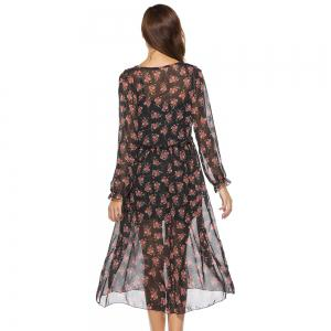 Spring New Two-piece Long-sleeved Small Floral Long Fashion Dresses -