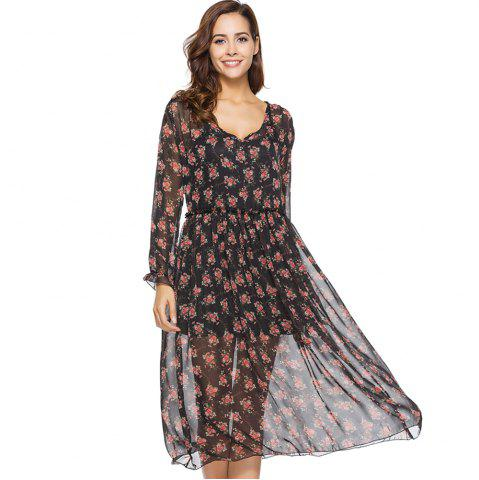 Best Spring New Two-piece Long-sleeved Small Floral Long Fashion Dresses