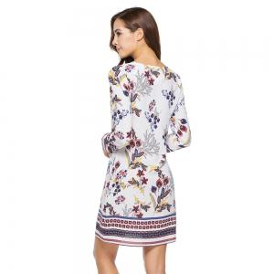 New Casual Round Neck Long Sleeve Floral Printed Dress -
