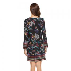 Spring Casual Round Neck Long Sleeve Floral Printed Loose Dress -