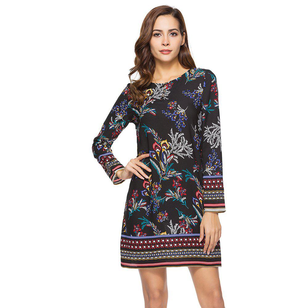 Chic Spring Casual Round Neck Long Sleeve Floral Printed Loose Dress