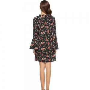 Spring New Long Sleeve Floral Printed Casual Loose Dress -