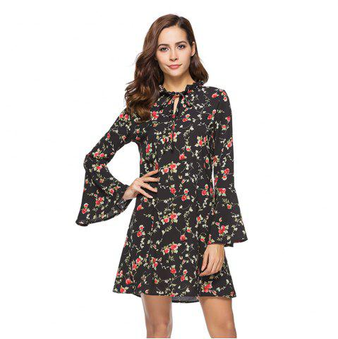 Outfits Spring New Long Sleeve Floral Printed Casual Loose Dress