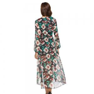 Casual Deep V-neck New Long Sleeve Floral Printed Dress -