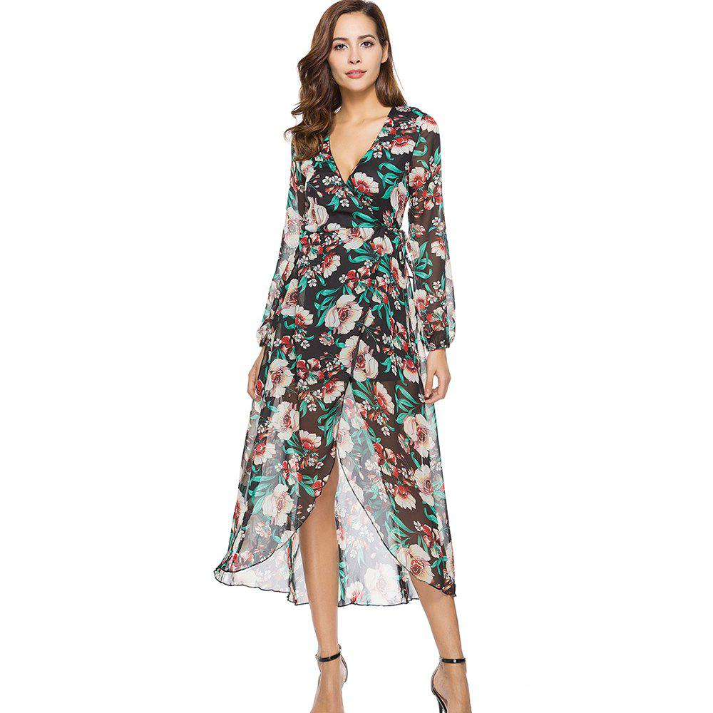 Cheap Casual Deep V-neck New Long Sleeve Floral Printed Dress
