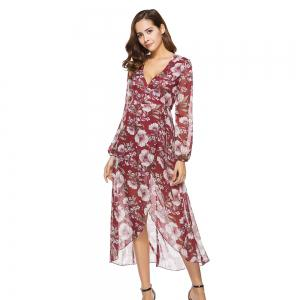 Spring New Long Sleeve Loose Casual Floral Printed Dress -